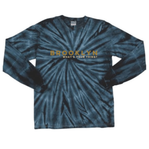 A blue long sleeve tie dye Brooklyn shirt