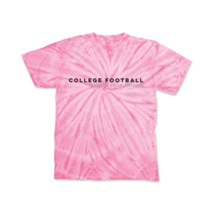 A pink tie dye college football shirt