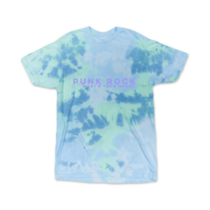 A blue tie dye punk rock tee