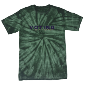 A green Tie dye voting t-shirt